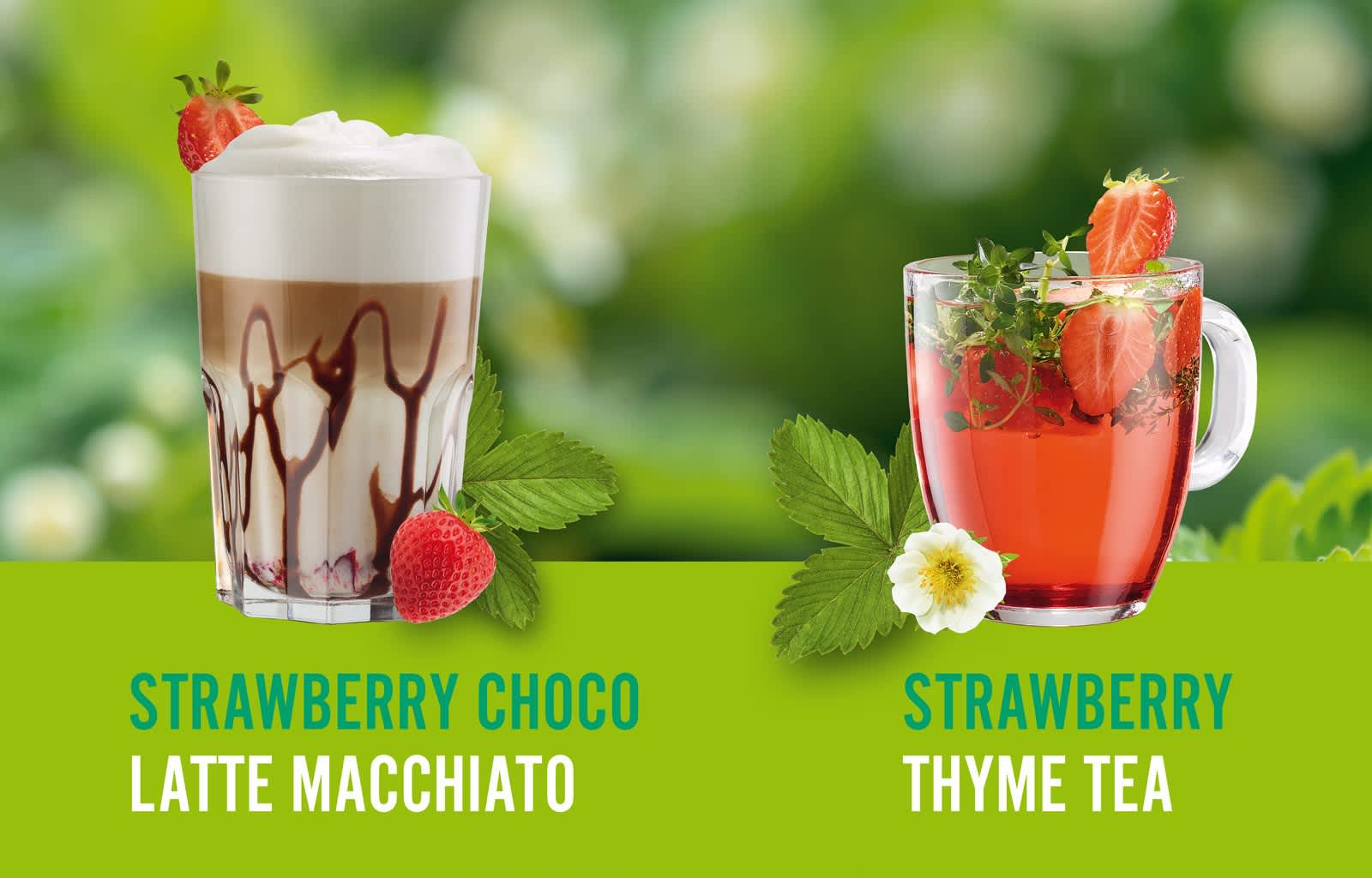 Hot Drinks Spring, Strawberry Thyme Tea, Strawberry Choco Latte Macchiato, Orange Tea, Matcha Tea Latte
