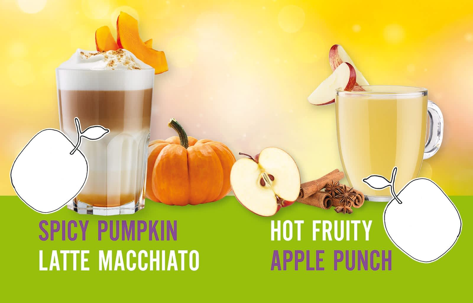 Hot Drinks Autumn, Latte Macchiato, Apple Punch