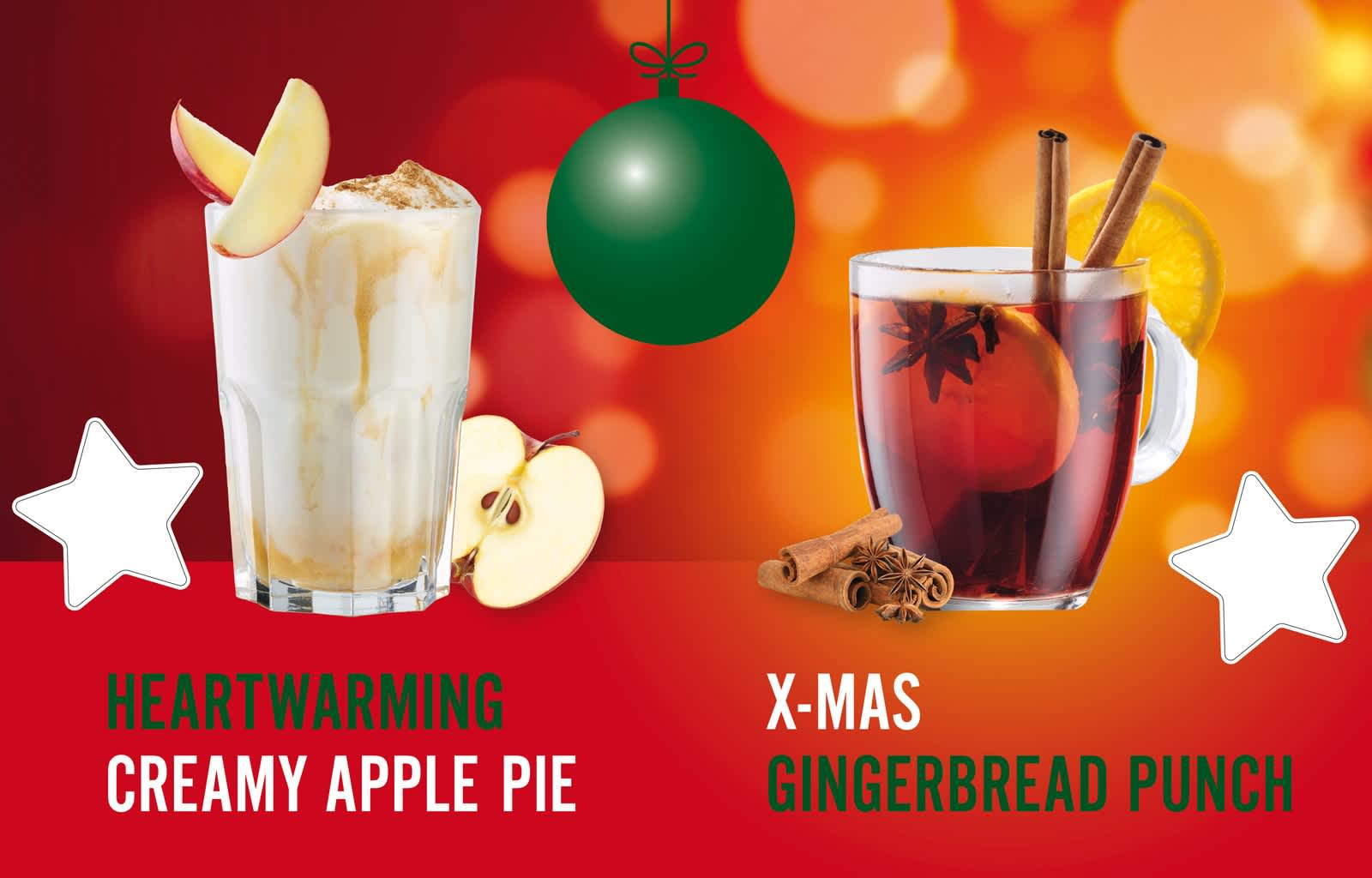 hot drinks, winter drinks, creamy apple pie, gingerbread punch