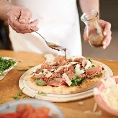 handmade pizza round