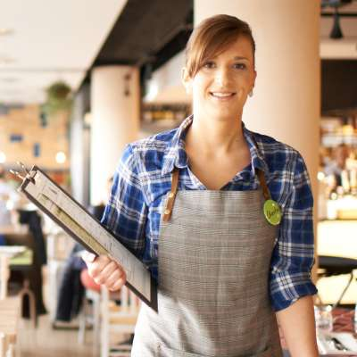 waitress with menu card