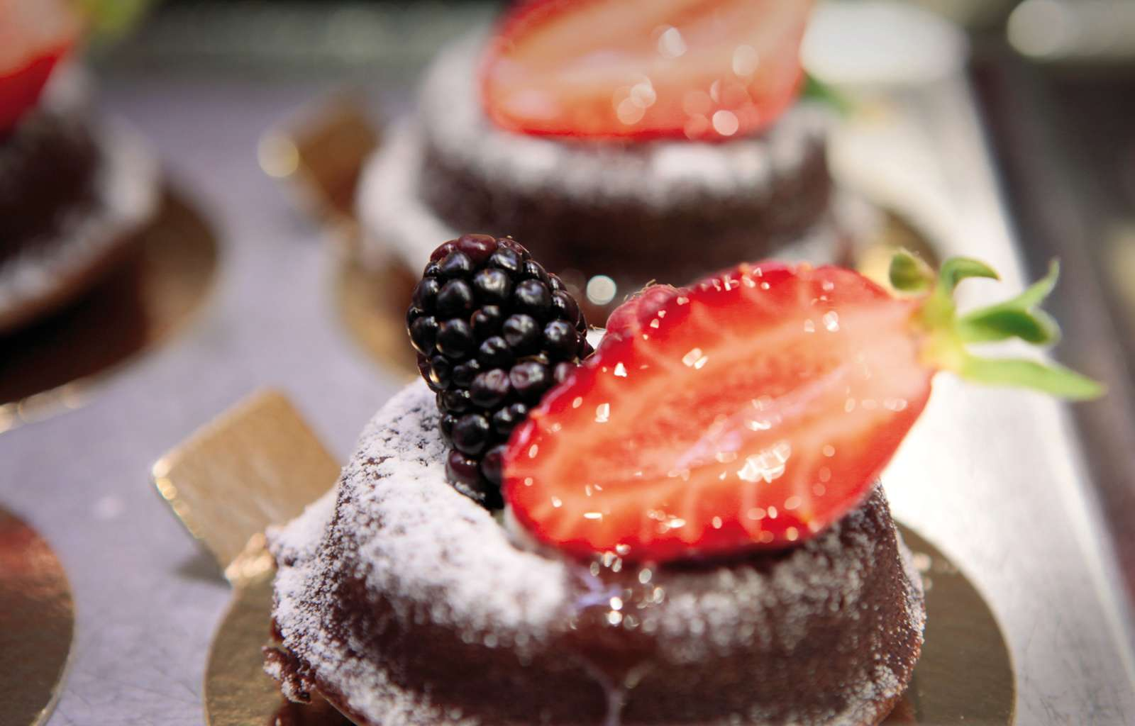 chocolate desert with berries